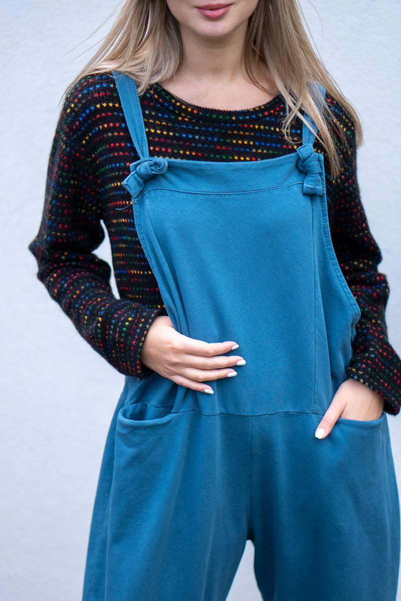 Jersey Cotton Boyfriend Dungarees in Petrol Blue
