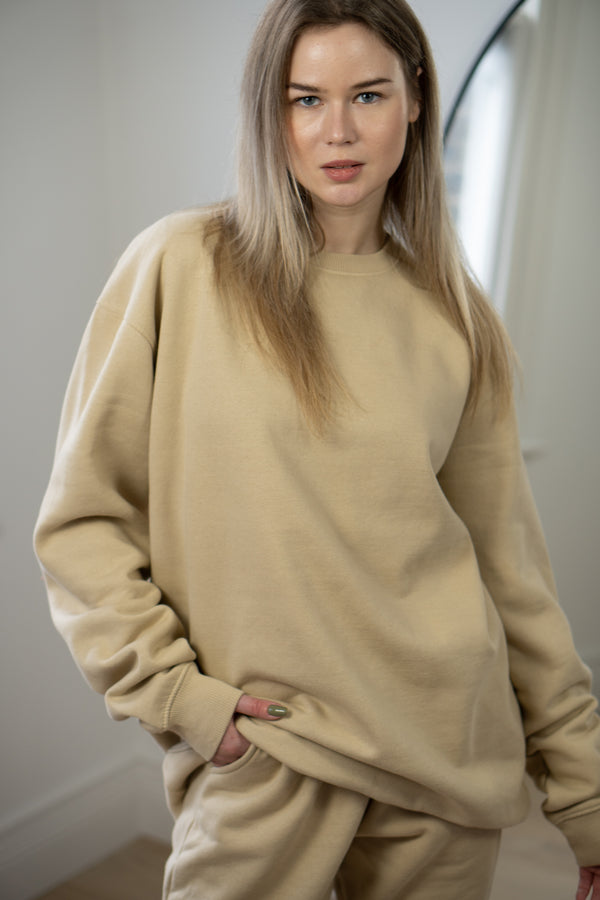 Warm Fleece Sweatshirt In Vintage Stone