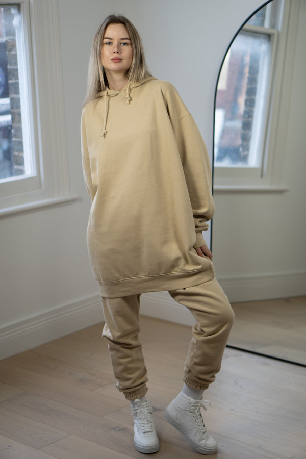 Warm Fleece Longline Hoodie In Vintage Stone