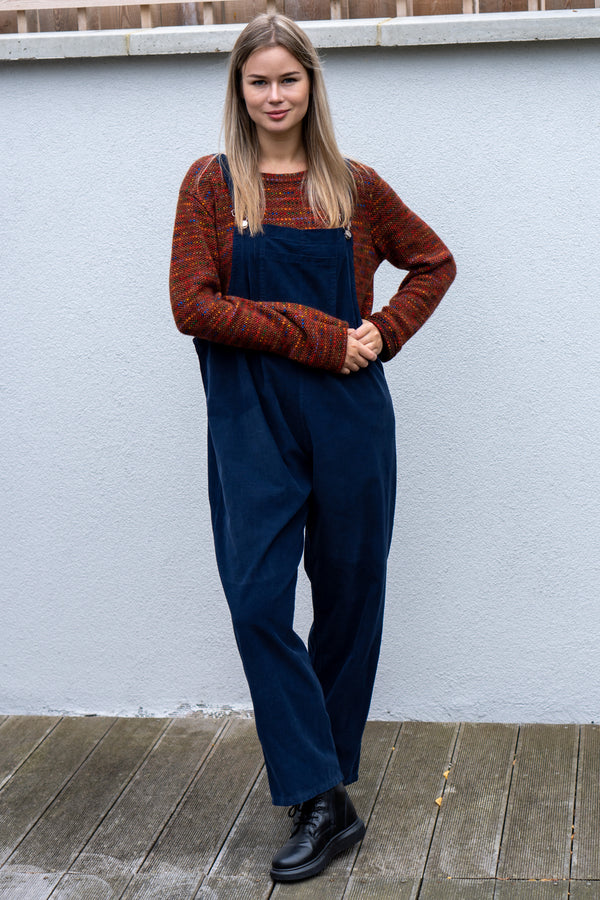 Corduroy Buckle Up Dungarees in Navy