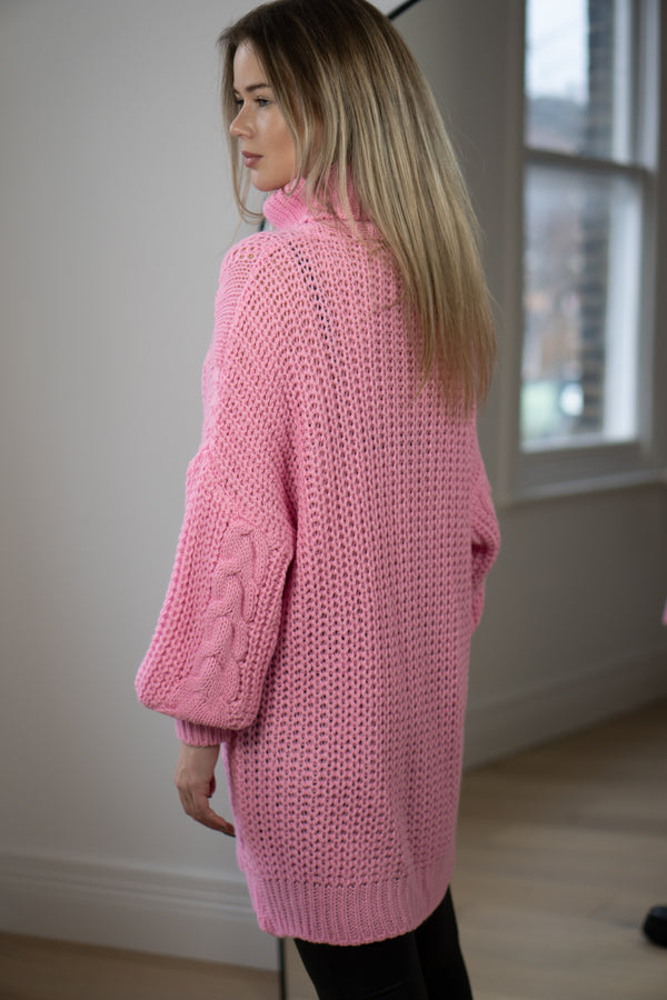 Cable Knit Longline Roll Neck Jumper in Bubblegum Pink