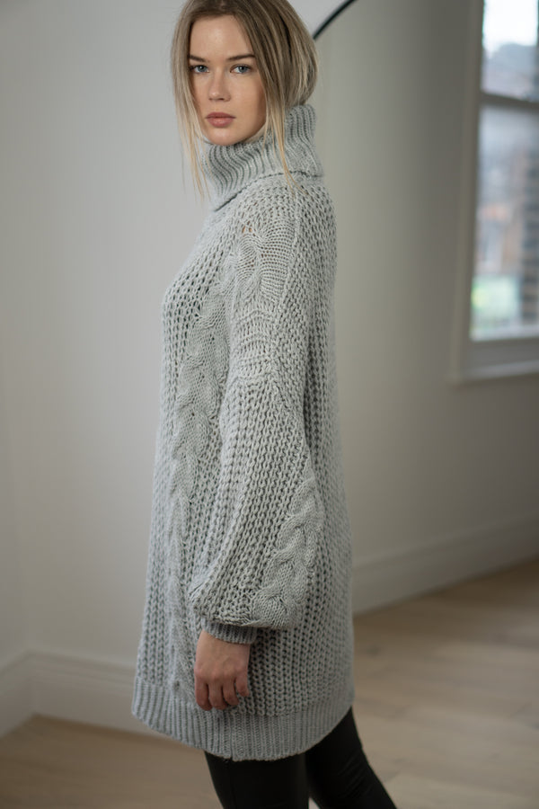 Cable Knit Longline Roll Neck Jumper in Light Grey