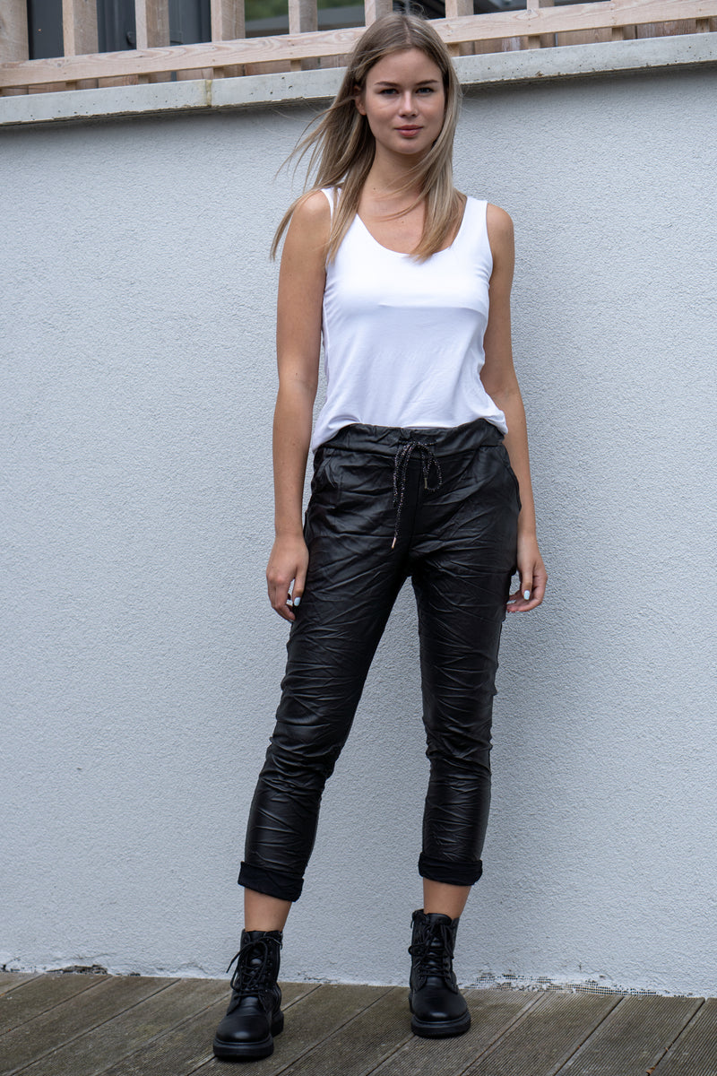 Faux Leather Drawstring Trousers