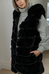 Faux Fur Hooded Gilet In Black