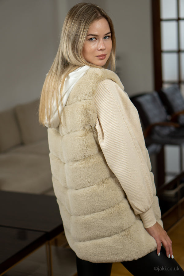 Faux Fur Gilet in Cream