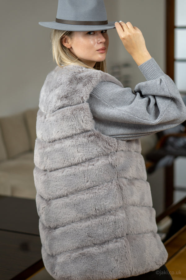 Faux Fur Gilet in Light Grey