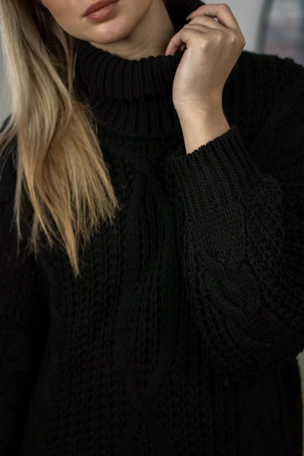 Cable Knit Longline Roll Neck Jumper in Black