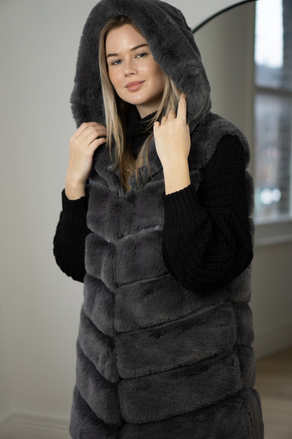 Faux Fur Hooded Gilet In Grey