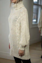 Cable Knit Longline Roll Neck Jumper in Cream