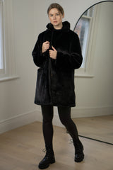 Faux Fur Coat In Black