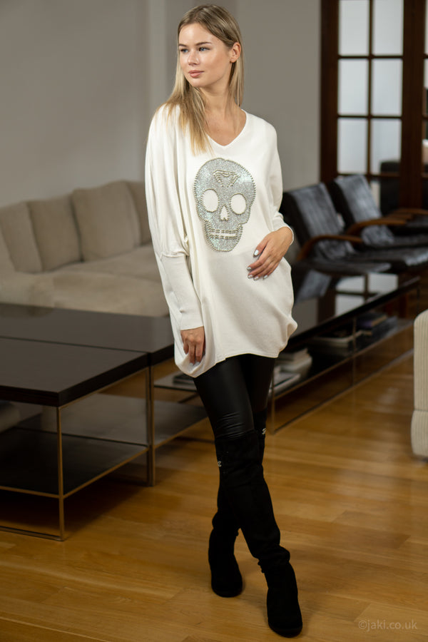 Studded Skull Jumper in Cream