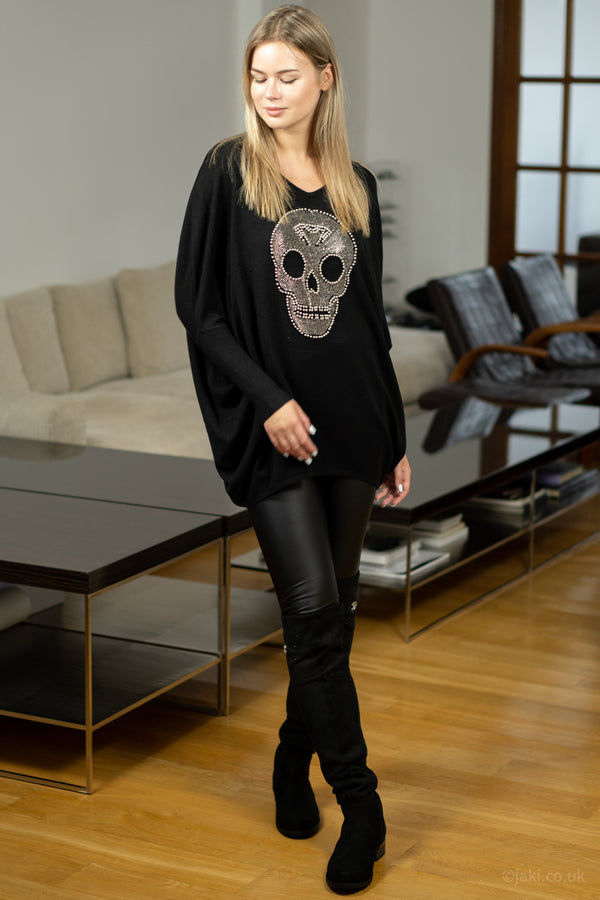 Studded Skull Jumper in Black