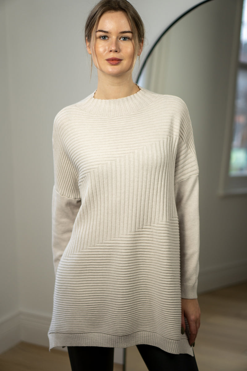 Relaxed Fit Turtleneck Jumper In Cream