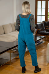 Corduroy Knot Tie Dungarees in Petrol Blue