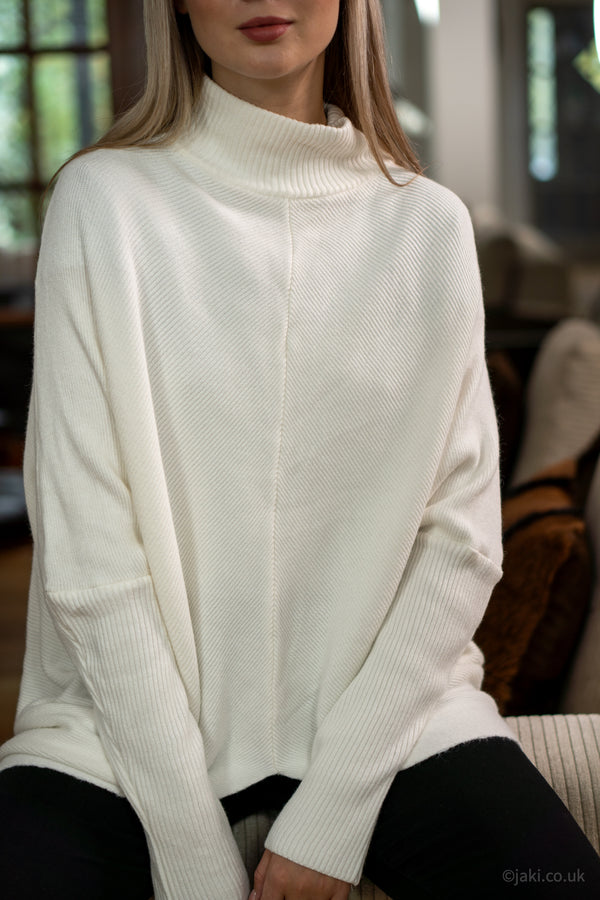 High Neck Soft Knit Jumper in Cream