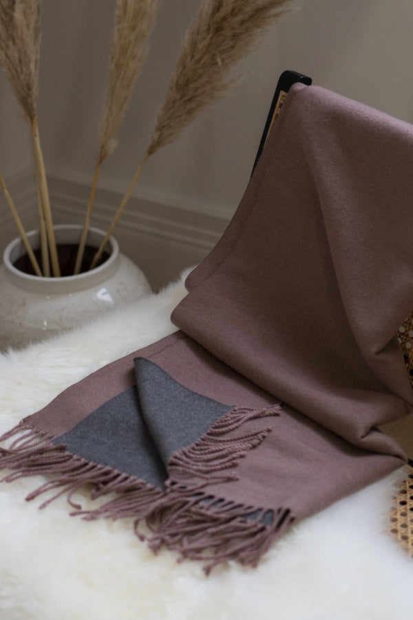 Two Tone Scarf In Walnut/Grey