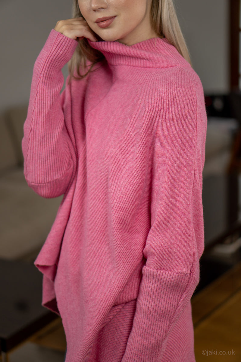 High Neck Soft Knit Jumper in Bubblegum Pink