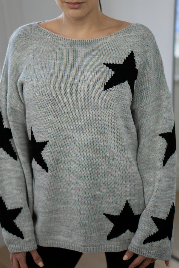 Slouchy Star Jumper In Light Grey/Black