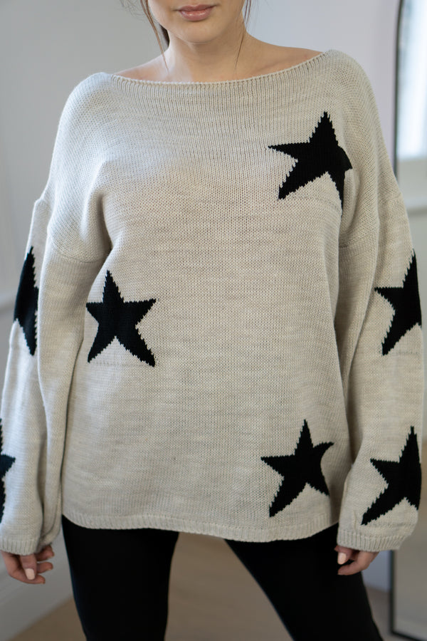 Slouchy Star Jumper In Stone/Black