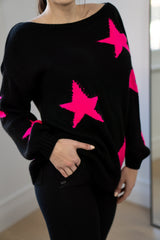 Slouchy Star Jumper In Black/Fuchsia