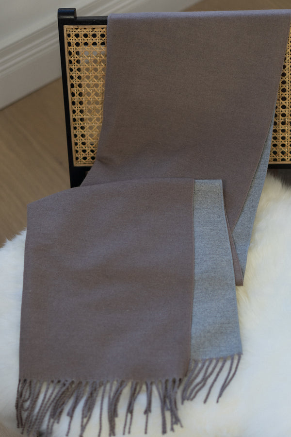 Two Tone Scarf In Taupe/Grey