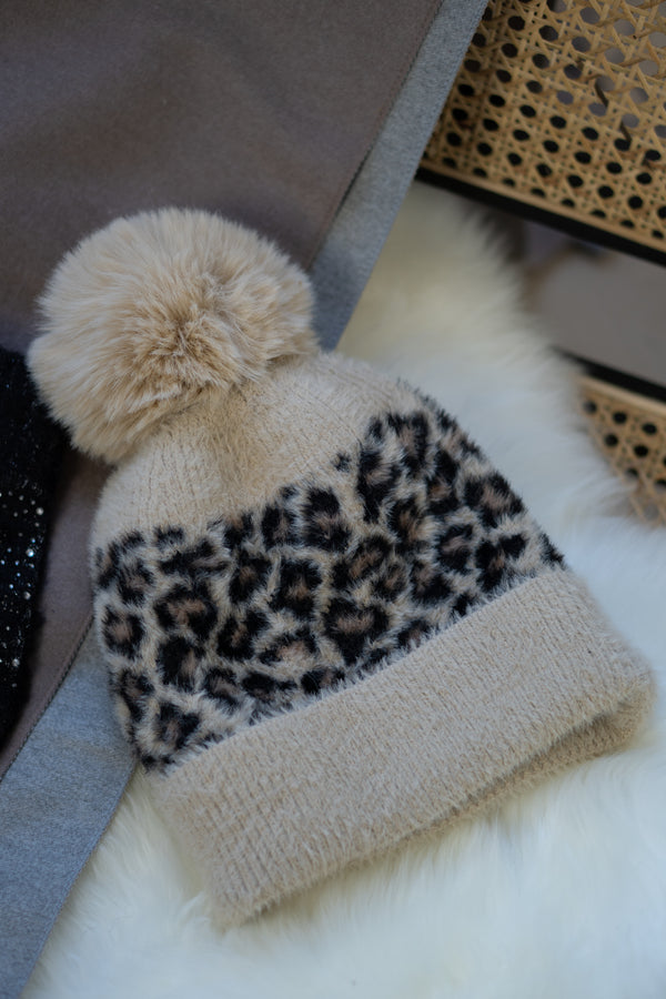 Leopard Print Faux Fur Bobble Hat