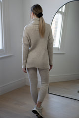 Ribbed Roll Neck Lounge Set in Light Beige