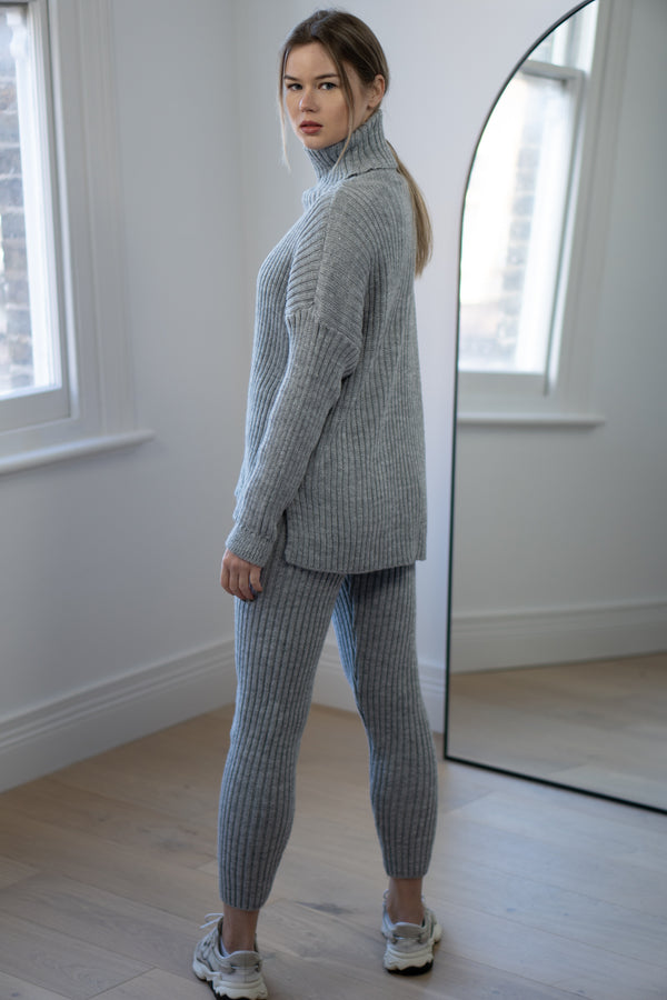 Ribbed Roll Neck Lounge Set in Light Grey