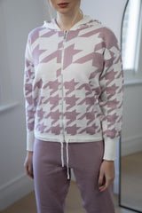 Dogtooth Zipper Lounge Set in Lilac