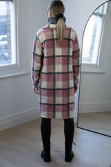 Longline Check Shacket in Light Pink