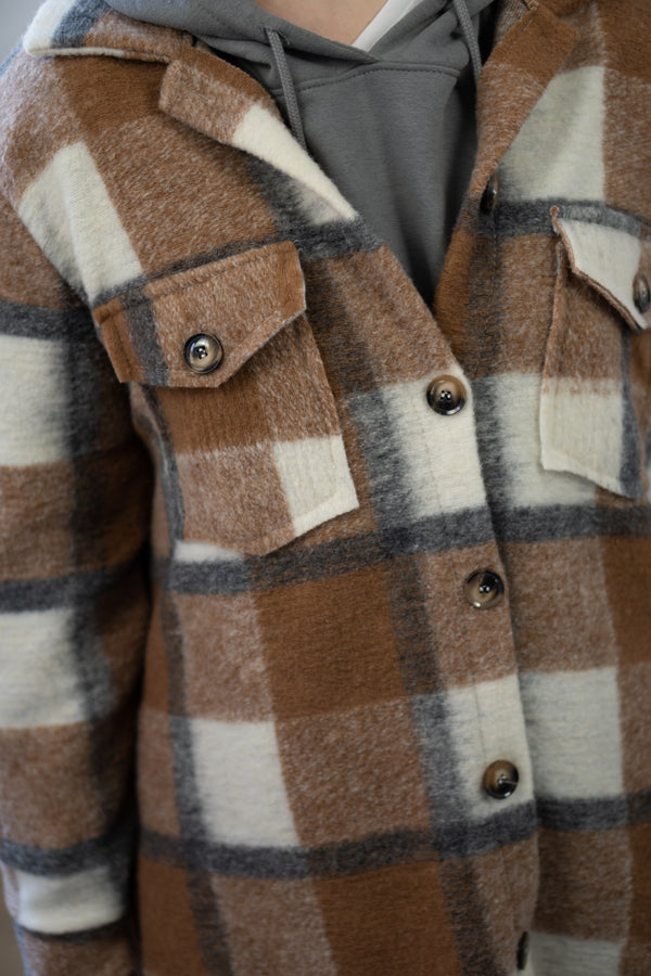 Longline Check Shacket in Saddle Brown