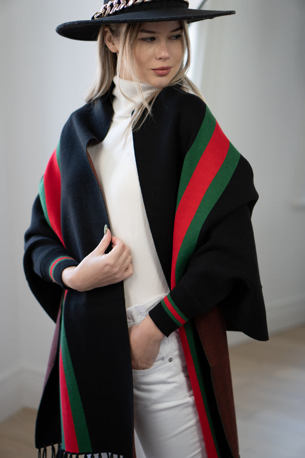 GR Stripe Cape in Black
