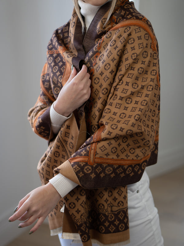 Lulu Printed Scarf in Dark Brown/Beige