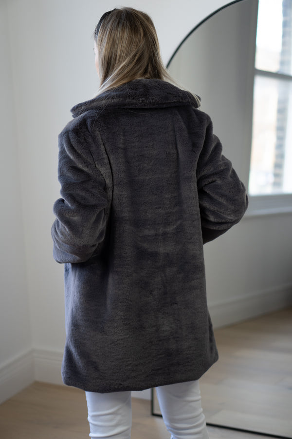 Faux Fur Coat In Grey