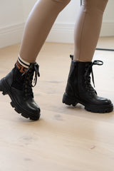 Chunky Sole Elastic Boots with Printed Trim