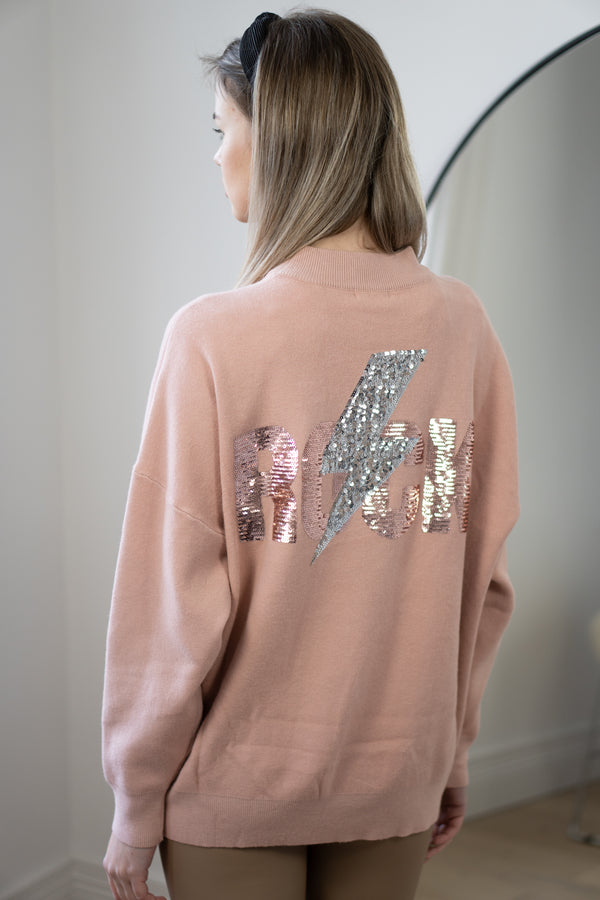 Rock Strikes Back Jumper in Light Pink