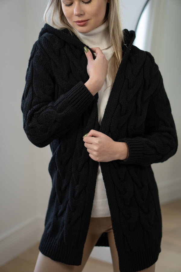 Cable Knit Open Hooded Cardigan in Black