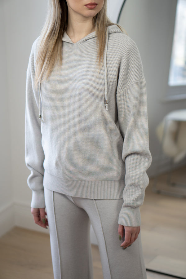 Waffle Knit Set in Light Grey