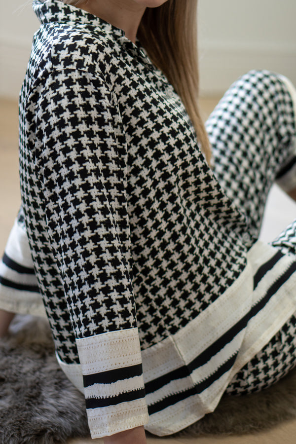 Button Up Dogtooth PJ Set
