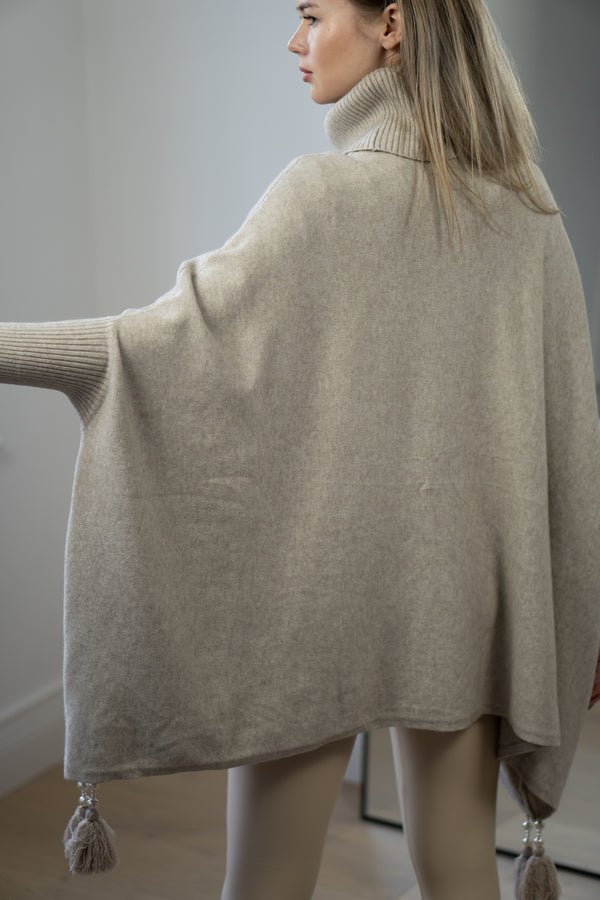 Tassel Trim Poncho in Light Beige