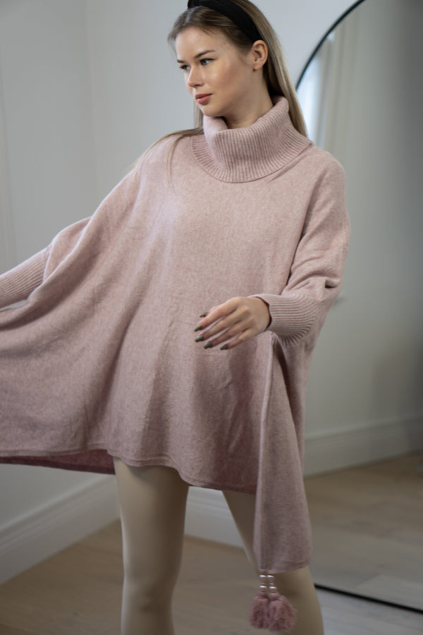 Tassel Trim Poncho in Light Pink