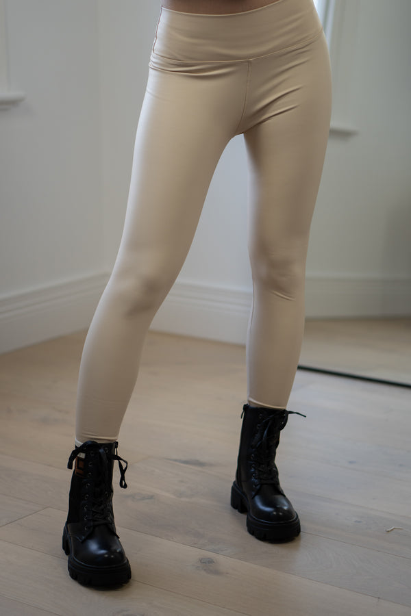 Candi Faux Leather Leggings in Cream