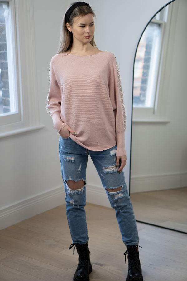 Pearl Trim Boatneck Ribbed Knit Jumper in Light Pink