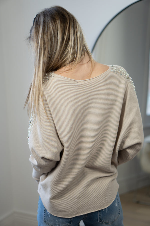 Pearl Trim Boatneck Ribbed Knit Jumper in Light Beige