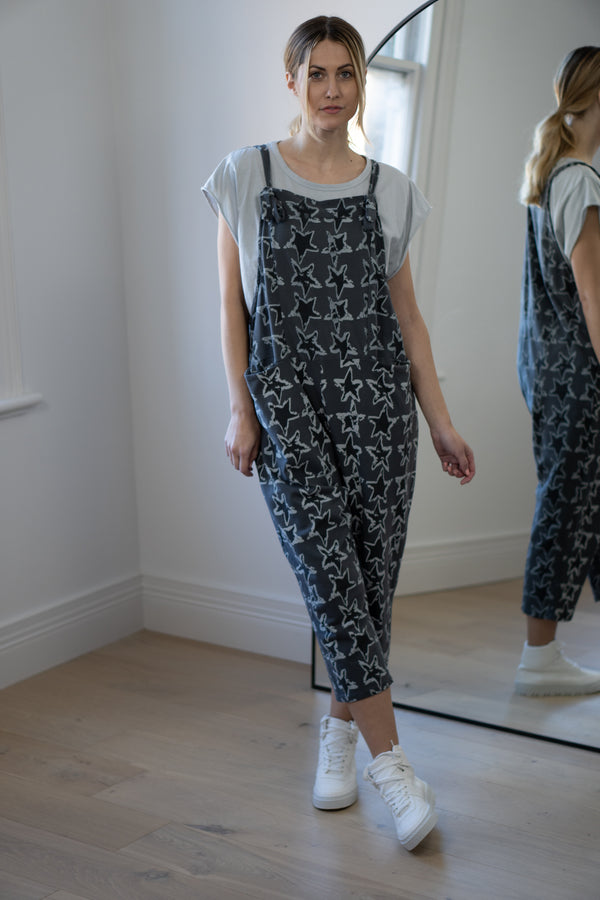 Star Dungarees in Graphite