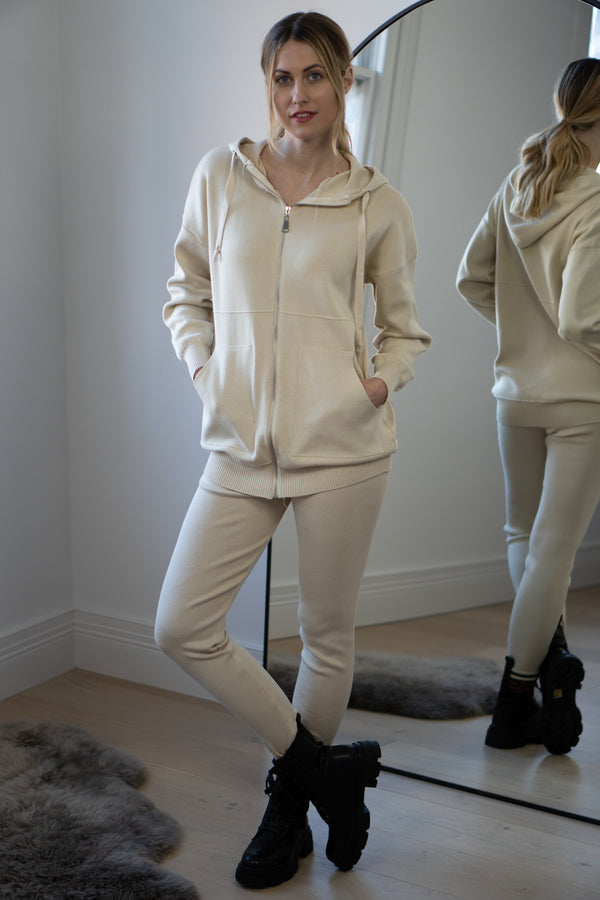 Zip Up Lounge Set in Cream