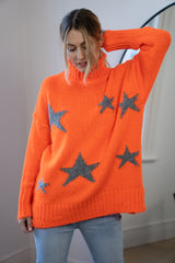 Star Funnel Neck Longline Jumper in Orange/Grey