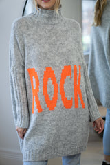 Rock Funnel Neck Longline Jumper In Light Grey/Orange