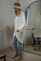High Neck Soft Knit Longline Jumper in Cream