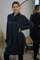 Flecked Tunic in Petrol Blue